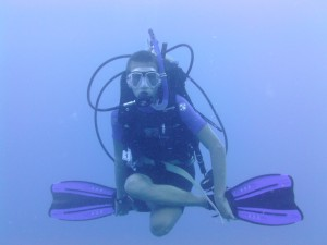 Christian practicing his neutral buoyancy!