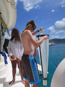 SeaTrek BVI FATHOMS students collect plankton samples to study the water quality of the waters in the British Virgin Islands.